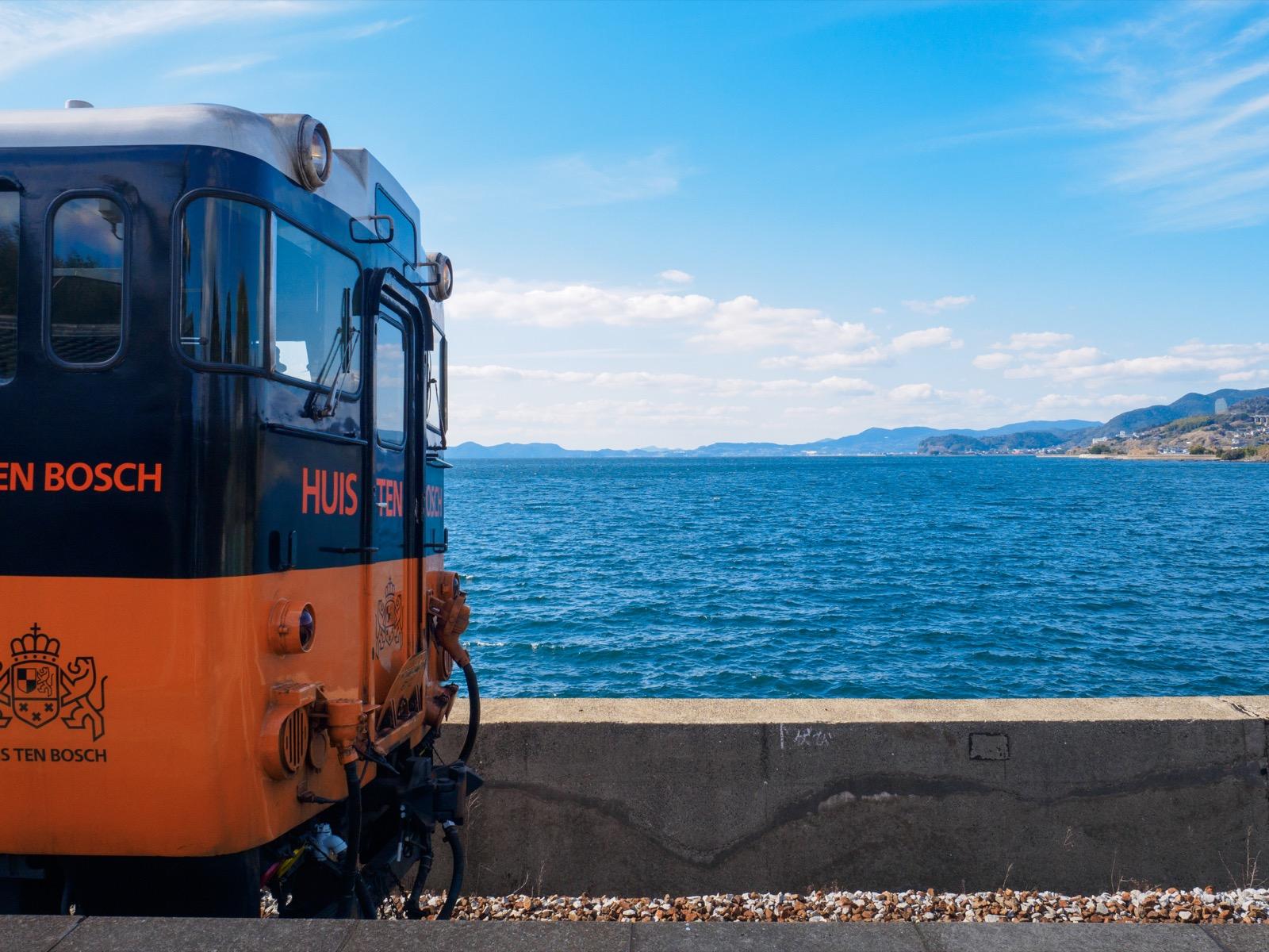 千綿駅から見た海(大村湾)