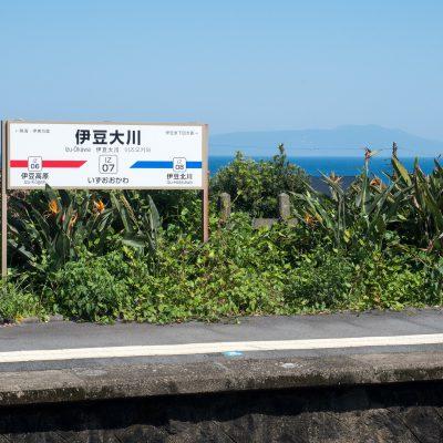 駅は高台にあり、東を向けば、太平洋と伊豆大島がよく見えます。