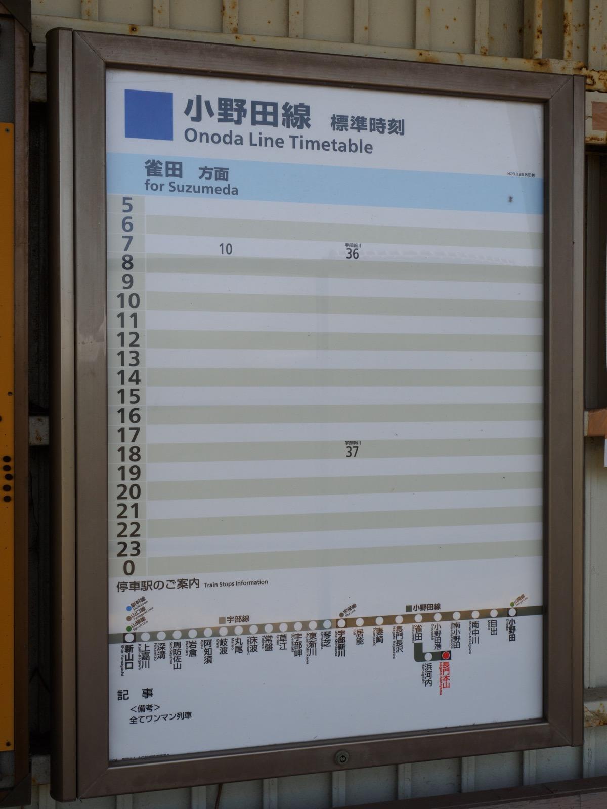 長門本山駅の時刻表(2016年5月撮影)
