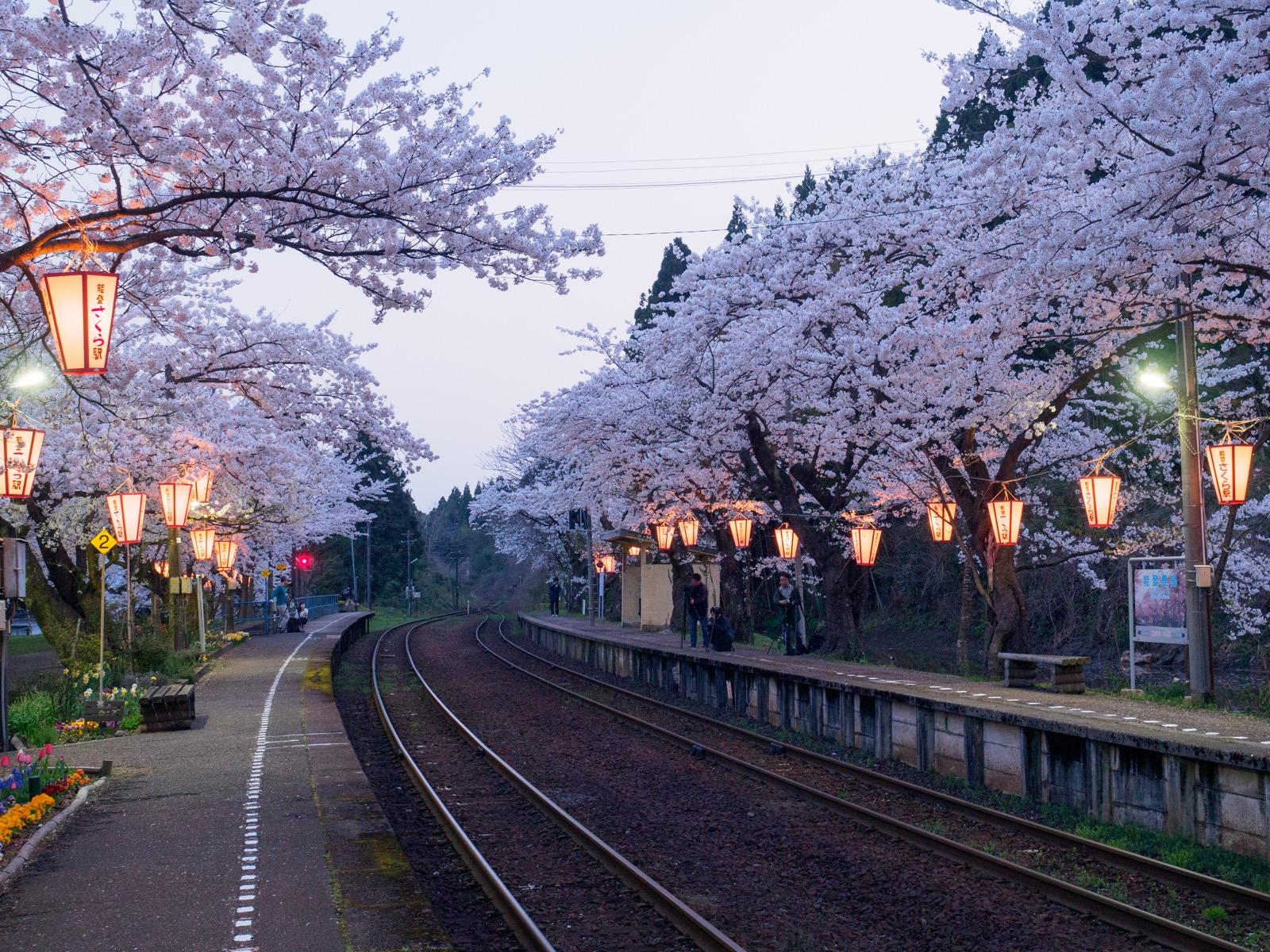 ぼんぼりが灯る能登鹿島駅(能登さくら駅)のホーム