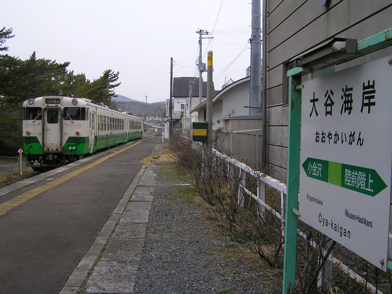 緑色の帯が景色に馴染む列車の姿。(2007年3月)