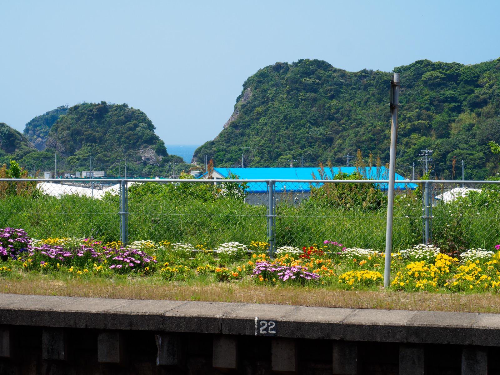 薩摩高城駅から見える東シナ海