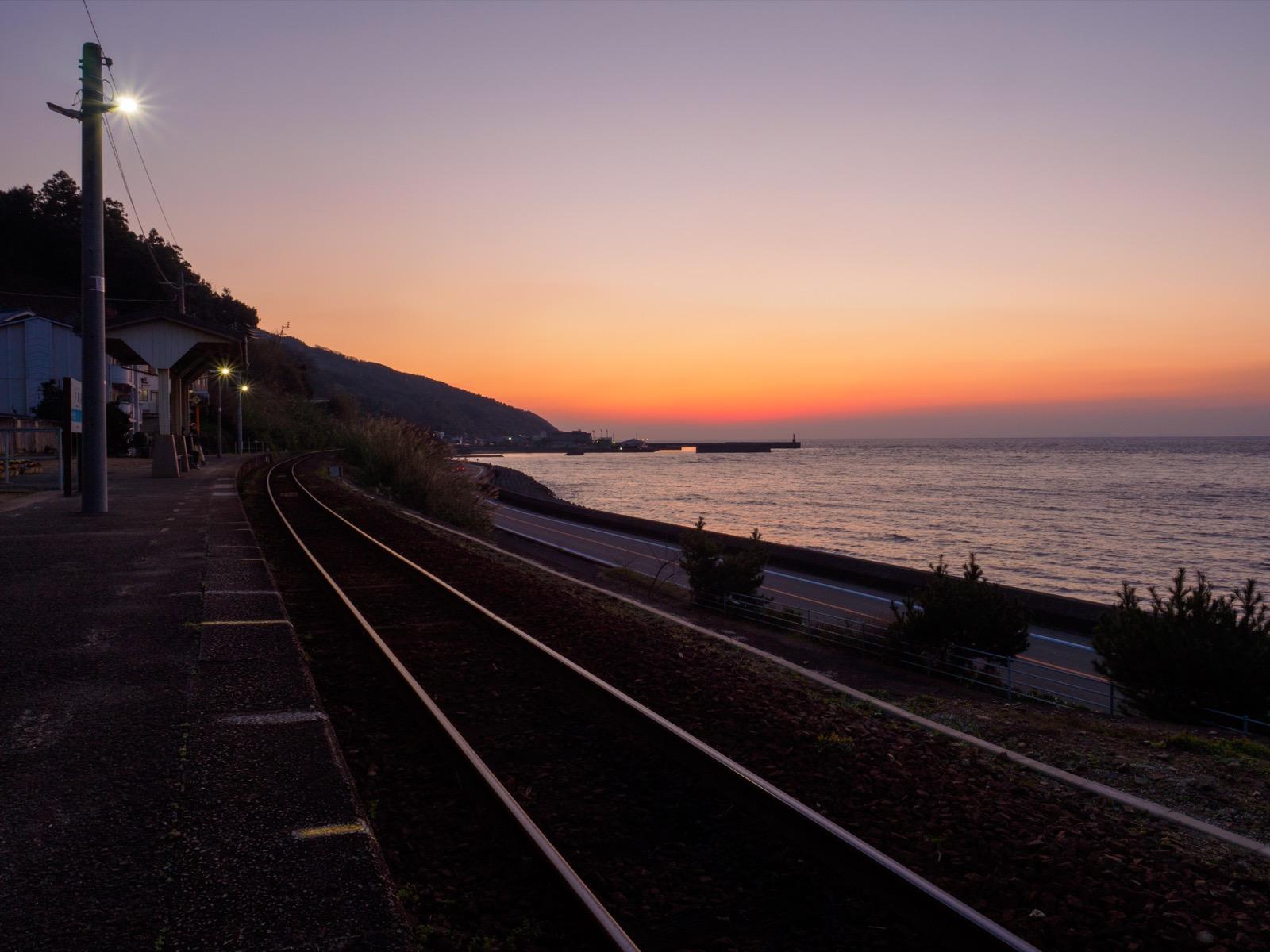 下灘駅の夕焼け(夕暮れ)