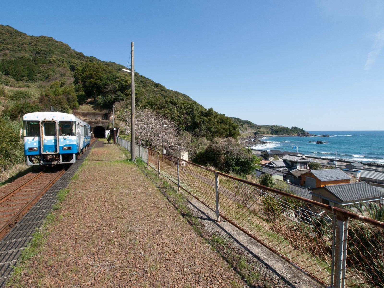 やってきた列車は海に似合うカラーリングでした。
