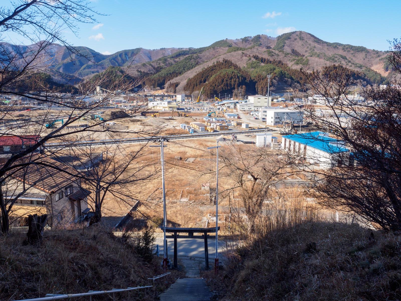 釜石市平田の舘山神社から俯瞰した平田の街