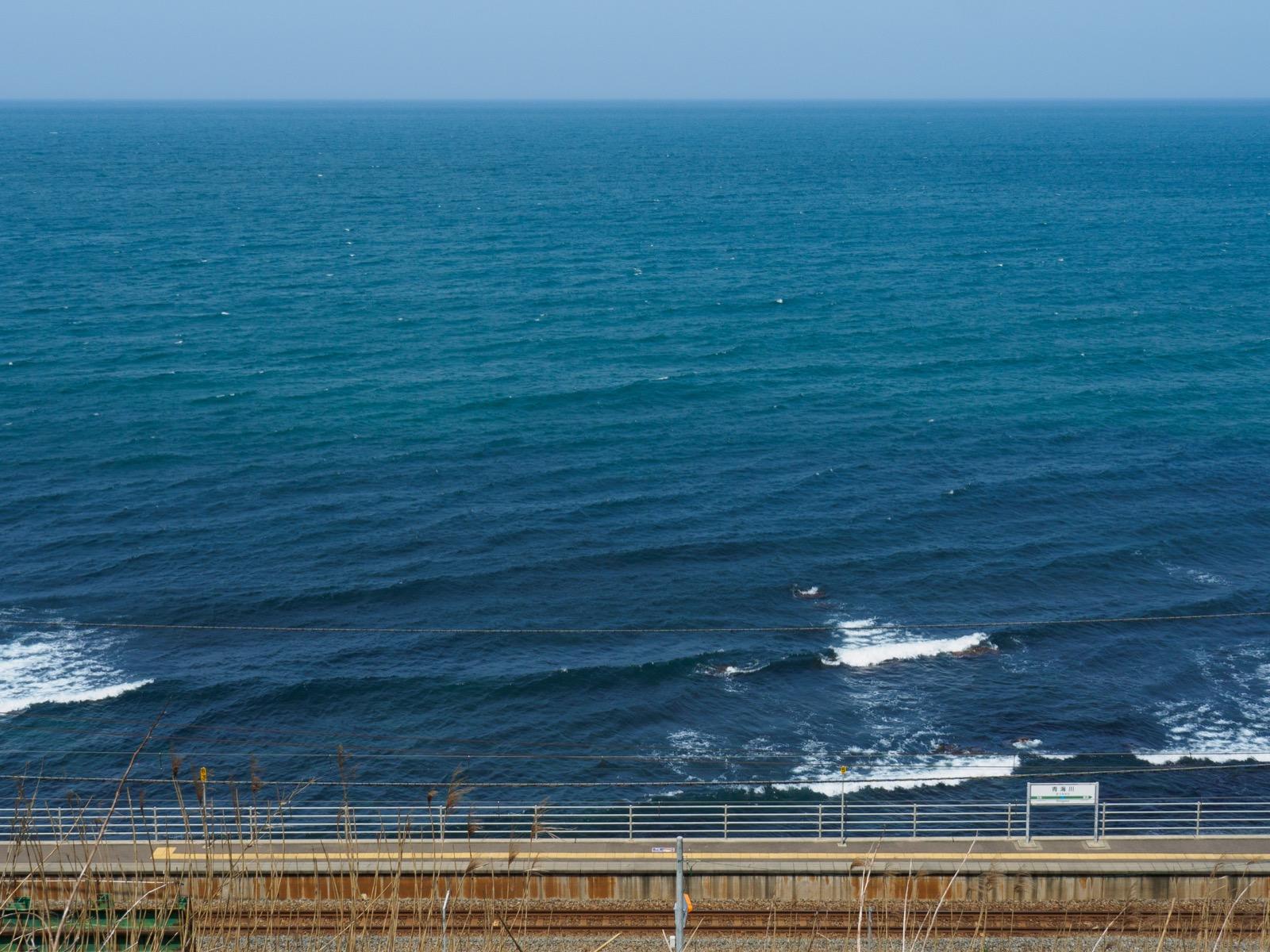 青海川駅と日本海の俯瞰