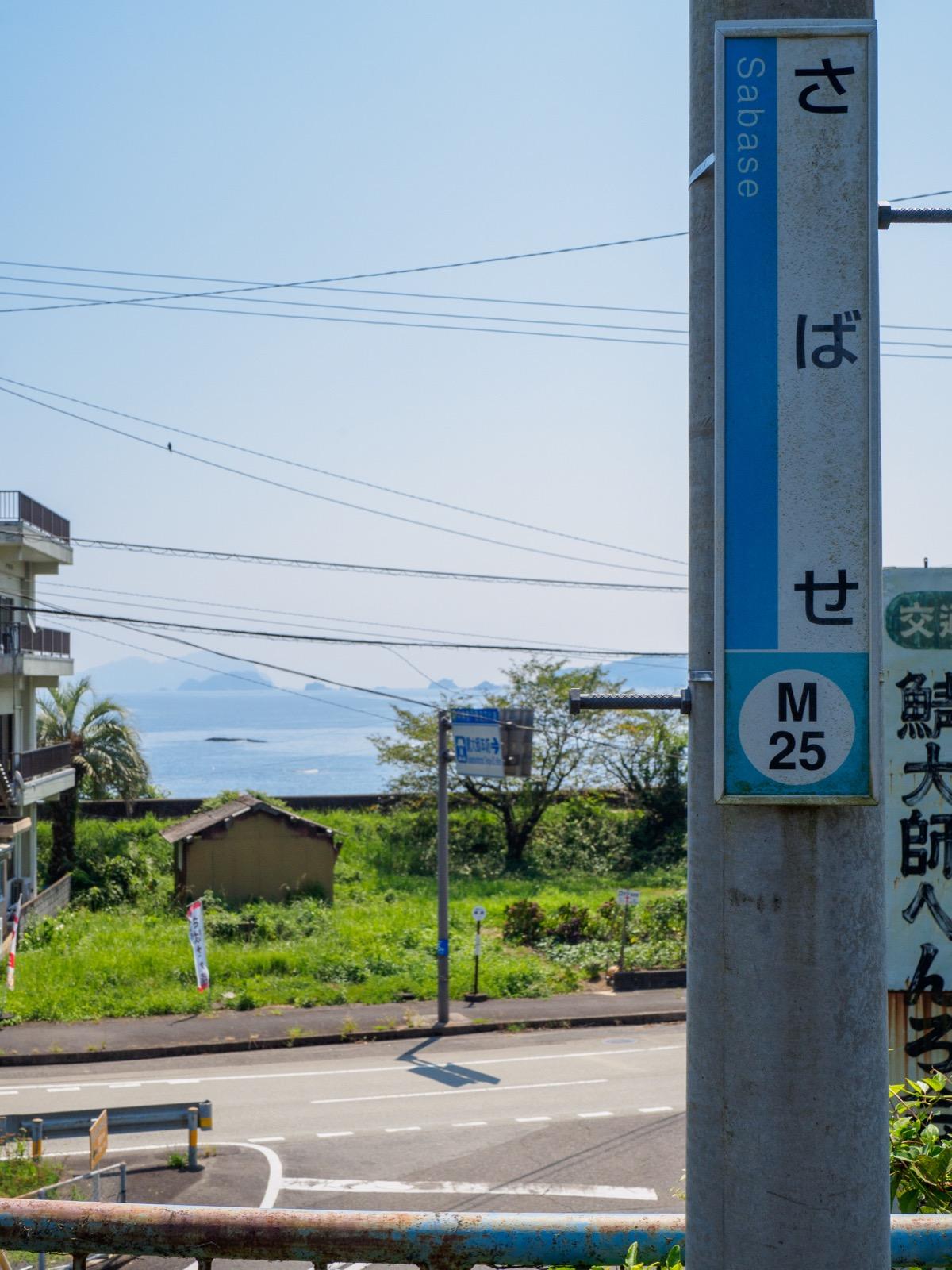鯖瀬駅のホームから見た国道55号線と太平洋