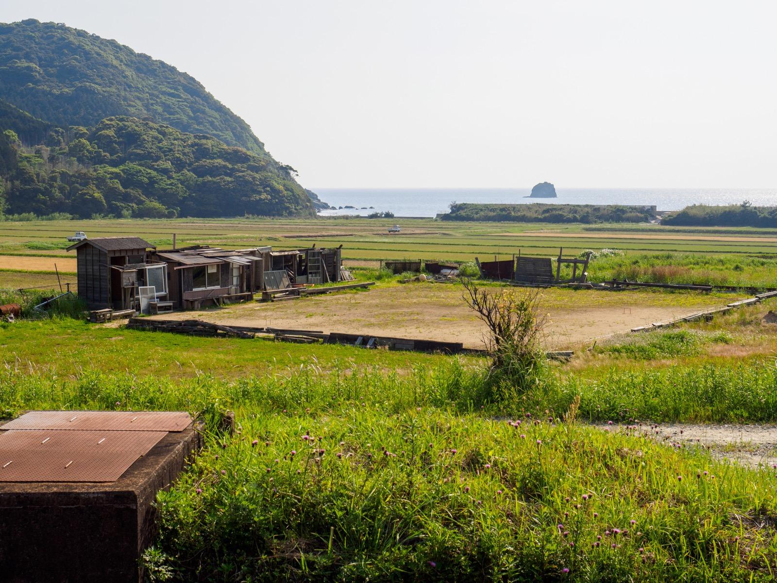 宇賀本郷駅から見た響灘と田んぼ