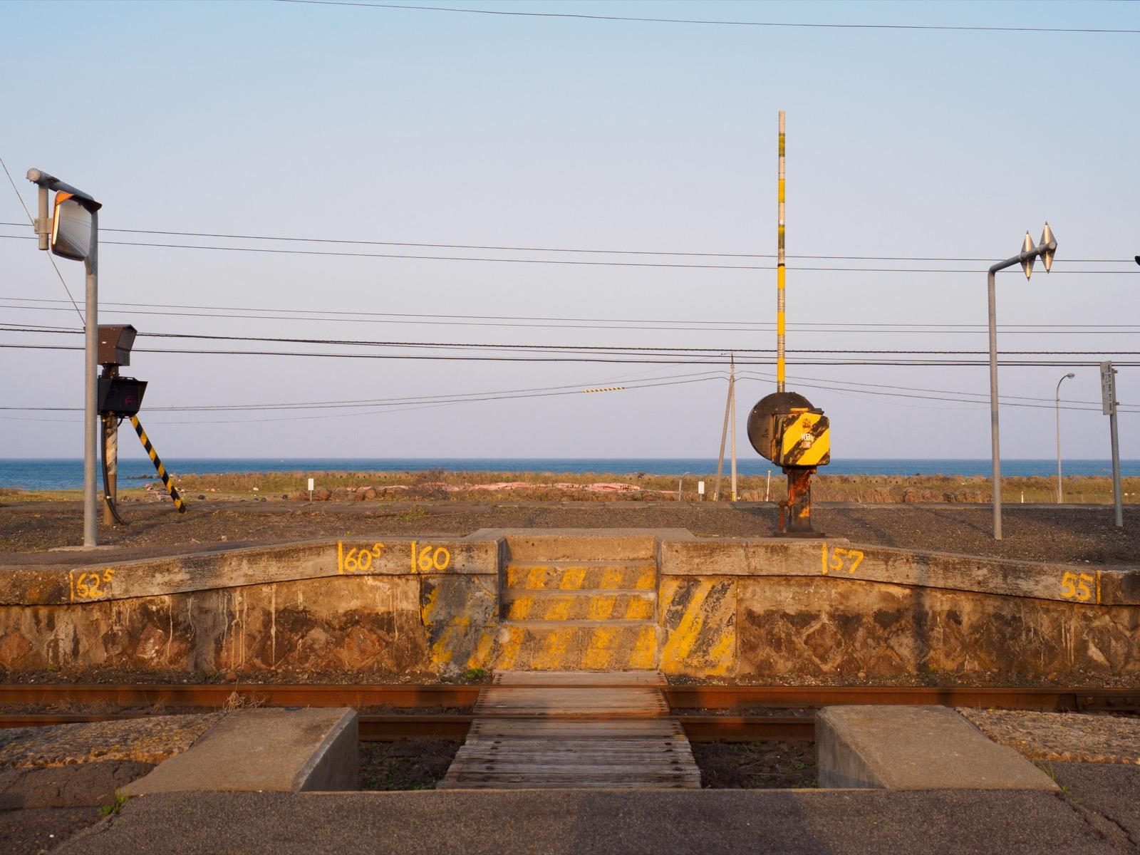 山崎駅から見た噴火湾